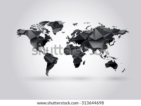 Vector low poly world map polygonal stock vector hd royalty free vector low poly world map polygonal ow poly black coal mining illustration gumiabroncs Image collections