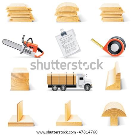 Vector lumber icon set - stock vector