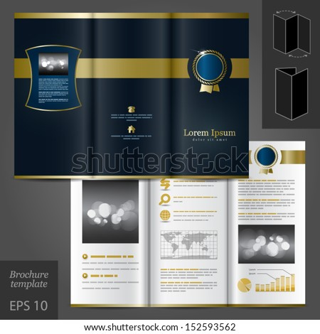 Vector luxurious brochure template design with classical element. EPS 10 - stock vector
