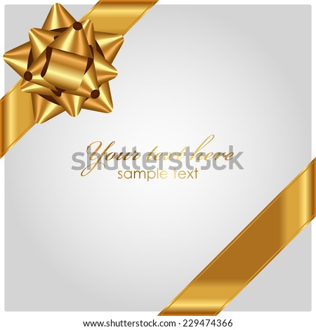 Vector luxury background with gold bow - stock vector