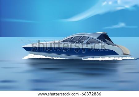 vector luxury boat in motion - stock vector