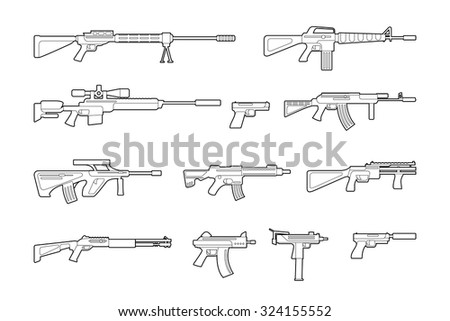 Vector machine guns and pistols line icons set. War and military collection, rifle and handgun, assault and trigger - stock vector
