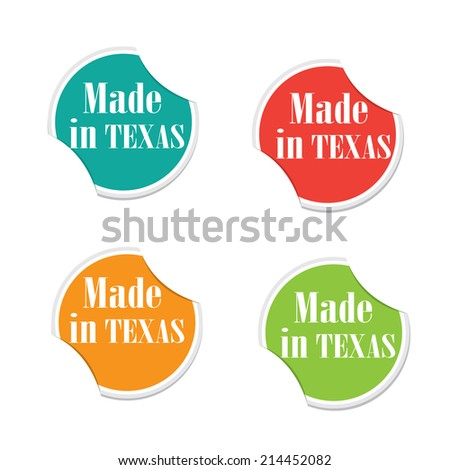 Vector - Made in Texas. Round stickers