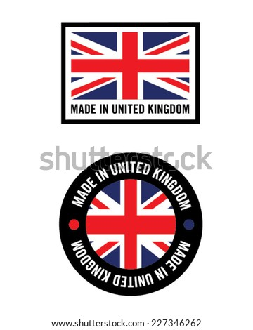 Vector 'Made in the United Kingdom (UK)' icons - stock vector