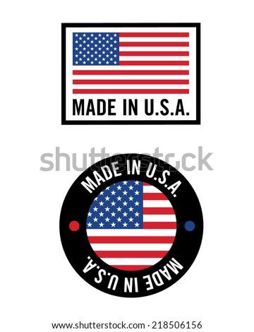 Vector 'Made in USA' icon and logo set - stock vector