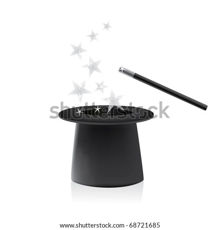 Vector magic hat and wand with sparkles - stock vector