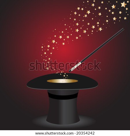 Vector - Magic wand performing tricks on a top hat with stars - stock vector
