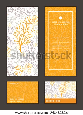 Vector magical floral vertical frame pattern invitation greeting, RSVP and thank you cards set - stock vector