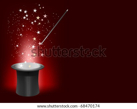 vector magician hat and wand with place for your text - stock vector