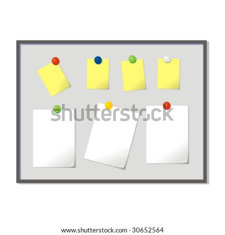vector magnetic board with blank papers - stock vector