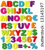 Vector Magnets of Alphabet, Numbers, Maths & Currencies - stock photo