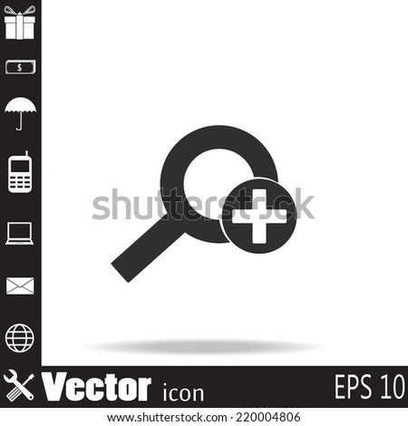 Vector magnifier icon with  - stock vector
