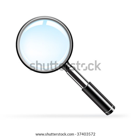Vector magnifying glass over white background