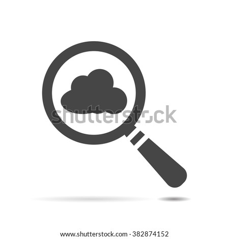 vector magnifying glass with cloud icon - stock vector