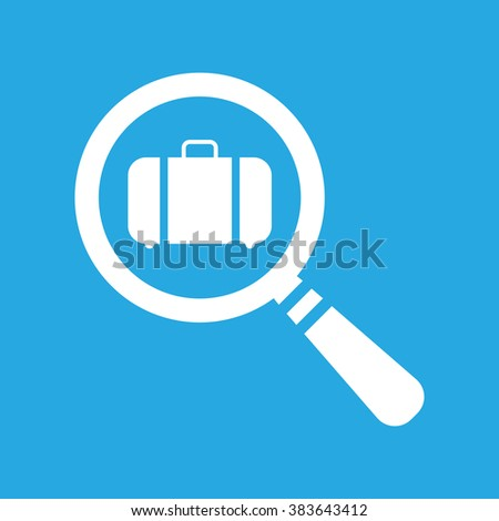vector magnifying glass with flat portfolio briefcase icon on a blue background - stock vector
