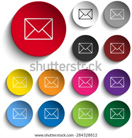 Vector - Mail Envelope Icon Circle Color Set