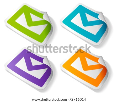 Vector mail icon on sticker set. Transparent shadow easy replace background and edit colors. - stock vector