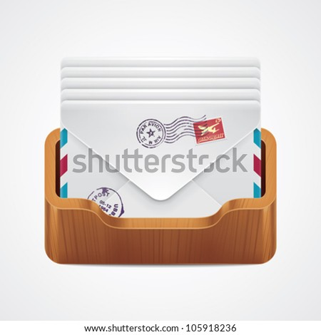 Vector mailbox with mail envelopes icon - stock vector