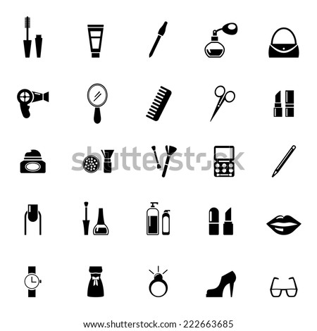vector make beauty icons black on stock vector 222663685