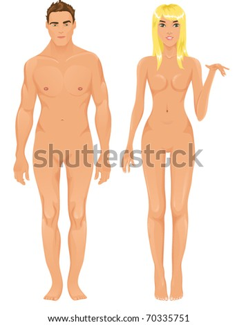 Vector male and female models - stock vector