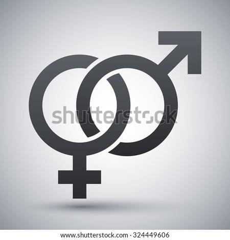 Vector male and female sex symbols - stock vector