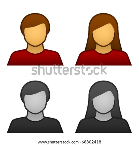 vector male female avatar icons - stock vector