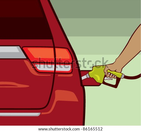 Vector. Male hand fueling the Car. - stock vector