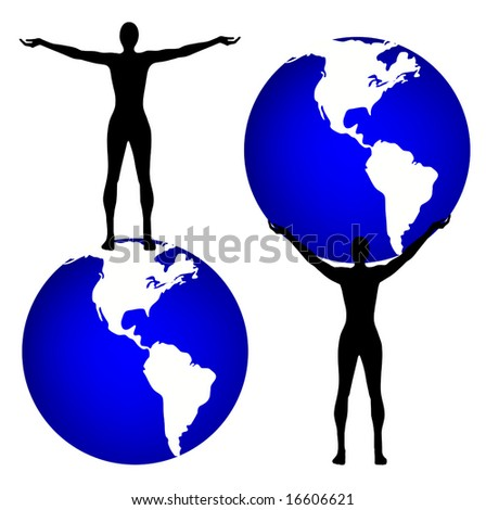 Vector Man and the World is original artwork. - stock vector