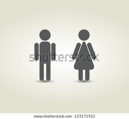 Vector man and woman icons, toilet sign, restroom icon, minimal style, pictogram - stock vector