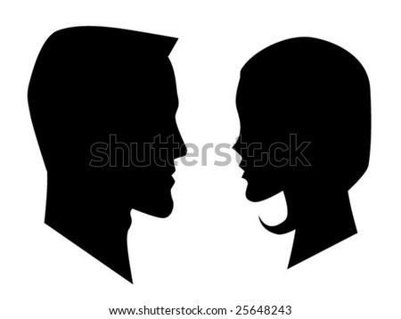 vector man and woman profiles - stock vector
