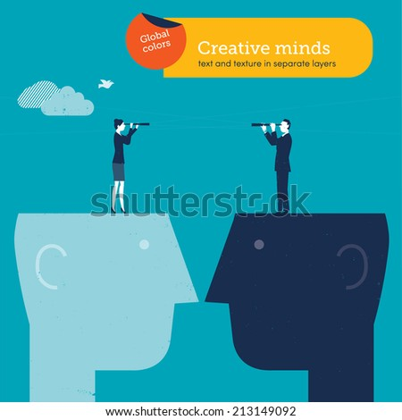 Vector man and woman with spyglass on brain. Vector illustration Eps10 file. Global colors. Text and Texture in separate layers. - stock vector