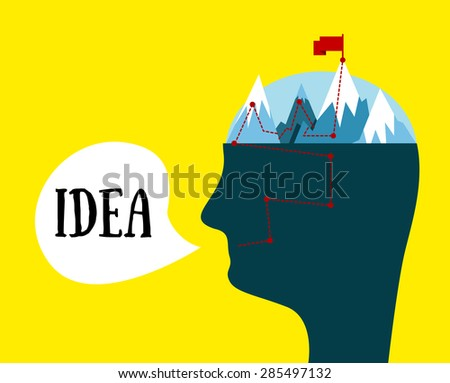 Vector man head. Idea concept. The mental process of creating ideas. Metaphorical illustration. - stock vector
