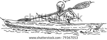 vector - man kayaking - isolated on background