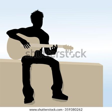 Vector Man playing guitar - stock vector