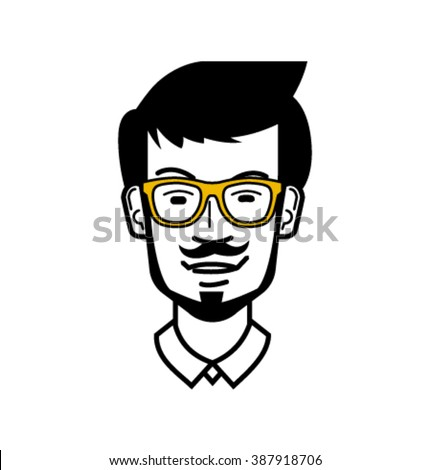 Vector_man's face with glasses and a bow tie - stock vector