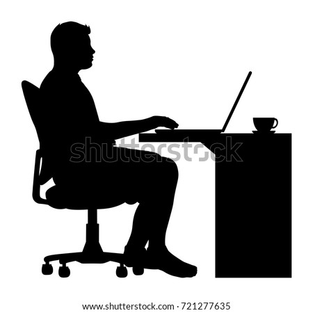 Vector Man Sitting Office Chair Desk Stock Vector ...