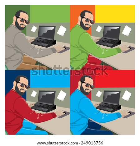 Vector man sitting in front of computer at office. Illustration - stock vector