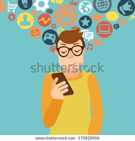 Vector man wearing glasses in flat style - smartphone addiction concept - stock vector