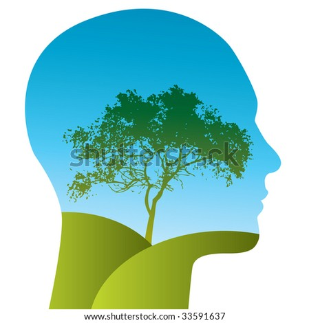 Vector Man with a tree landscape within his silhouette - stock vector