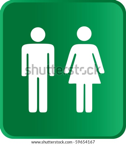 Vector Man & Woman icon over green background - stock vector