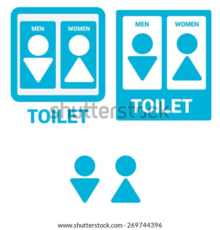 Vector Man & Woman restroom sign. Square Toilet Sign with Toilet, Men and Women text - stock vector
