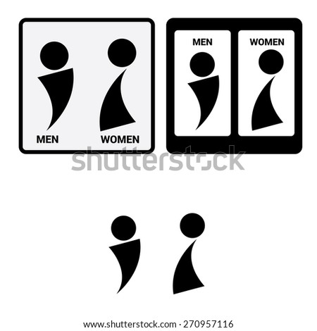 Vector Man & Woman restroom sign.Square Toilet Sign with Toilet, Men and Women text - stock vector