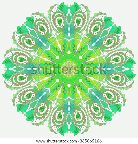 Vector Mandala background. Round Indian Ornament  - stock vector