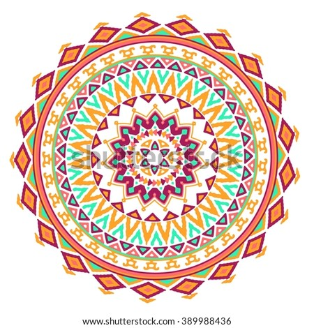 Vector mandala background with bohemian, Oriental, Indian, Arabic, Aztec motifs.Bright colorful geometric round decorative element for your design.  - stock vector