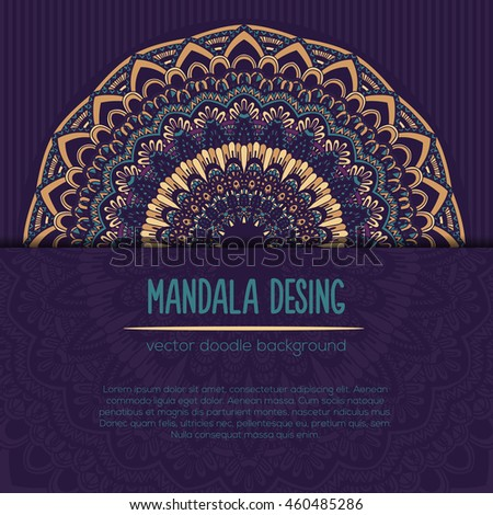 Vector mandala decor for your design with abstract ornament. Vector vintage business card. Oriental design Layout. Islam, Arabic, Indian, ottoman motifs. Ornamental doodle background.