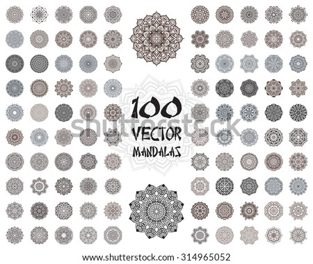 Vector mandala ornaments set. Round floral patterns collection. Hand drawn decorative element. - stock vector