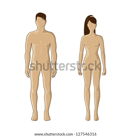 Vector mannequins of man and woman in brown color - stock vector