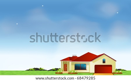 Vector mansion in the meadow under blue sky - stock vector