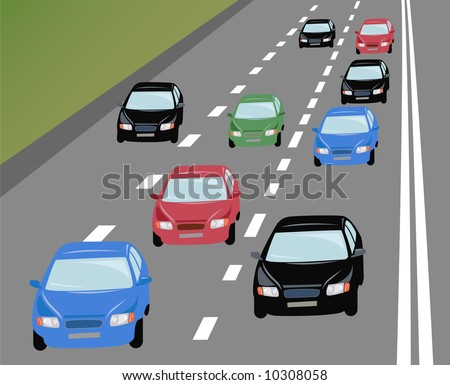 vector many cars on road - stock vector