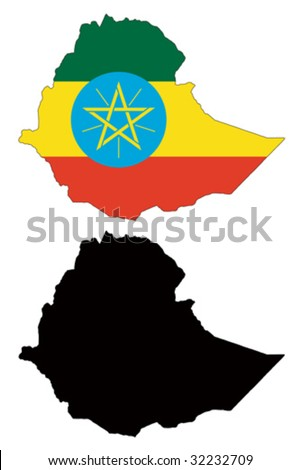 vector map and flag of Ethiopia with white background. - stock vector
